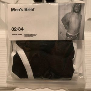 American Apparel Fly-Front Brief Black Medium New